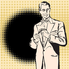 Men smocking retro vector picture