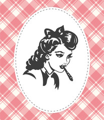 Retro young woman smocking joint vector image