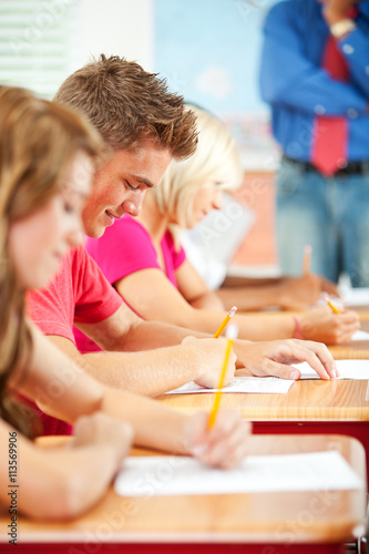 quothigh school students taking test at desksquot stock photo