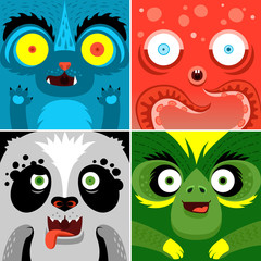 Cartoon monster animals faces vector set. Cute square avatars and icons. Idea for Halloween treat box. Print for t-shirt, elements for card design, poster.