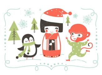 New Year vector illustration with cartoon Japanese Kokeshi Doll, penguin and monkey.
