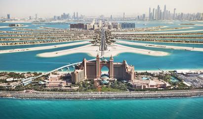 Palm Jumeirah in Dubai with Hotel Atlantis and monorail Wall mural