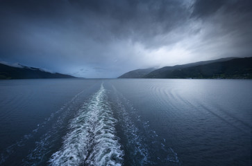 View from a ship on a norwegian fjord