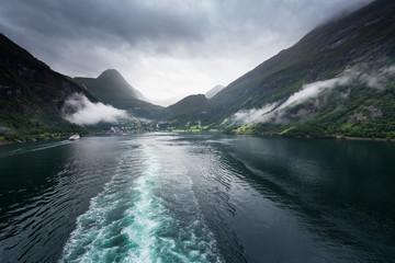 Ship Tracks in Fjord, Norway