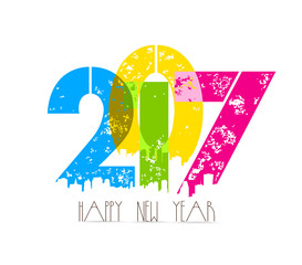 creative happy new year greeting design.