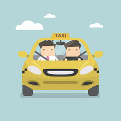 Taxi car and taxi driver with passenger. Vector