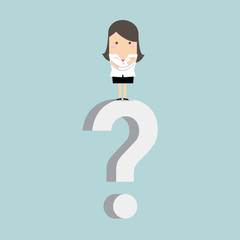 Businesswoman standing on question mark vector