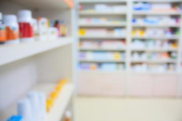 blur shelves of drugs in the pharmacy shop