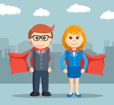businessman and businesswoman that super
