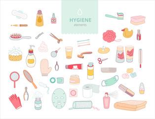 The set of hygiene elements on white background, flat cartoon vector illustration