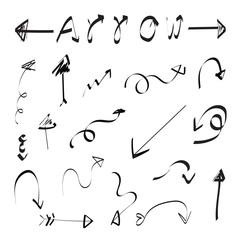 set vector illustration of doodle arrows on white background