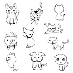 cat doodle drawing a vector on white background, set of black line free hand drawing doodle cute cats vector
