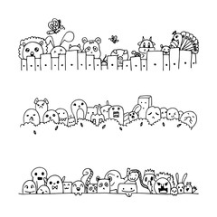 Set of cute black line isolated on white,free hand drawing vector of cute cartoon line doodle