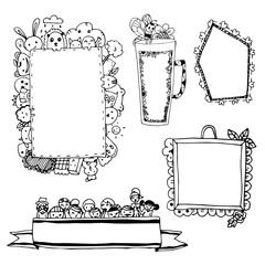 Set of cute black line picture frames isolated on white,free hand drawing vector of cute cartoon line doodle