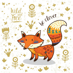Cute illustration indian fox with text be clever