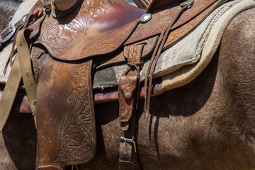 Detail of leather horse rsaddle and riding equipment