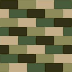 Camouflage Green Brick Wall Seamless Vector illustration Background