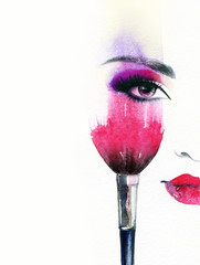 Deurstickers Aquarel Gezicht Beautiful woman face. Abstract fashion watercolor illustration