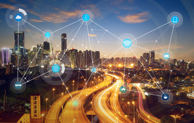 smart city and wireless communication network, abstract image visual, internet of things Fotoväggar