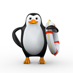 3d penguin with life preserver lifebuoy ring