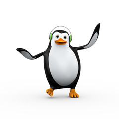 3d cute happy penguin singing and dancing