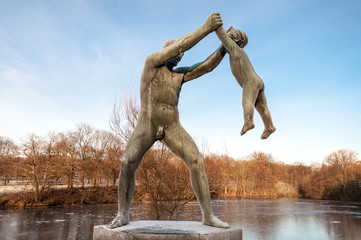Sculptures in  Frogner Park in Oslo, Norway. Also known as Vigeland (Sculpture) Park