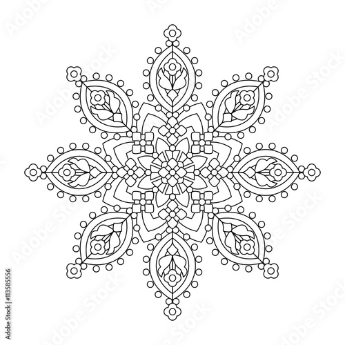 abstract mandala or whimsical snowflake line art design or coloring page - Mandala Snowflakes Coloring Pages