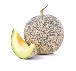 Ripe cantaloupe melon isolate on a white background (Clipping Pa