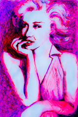 Pensive Ink drawing of 1950's lady in neon pink inspired by images of Marilyn Monroe