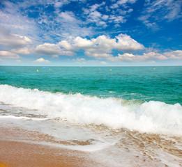 Printed bathroom splashbacks beautiful sandy beach of the Mediterranean coast of Spain
