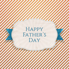Happy Fathers Day greeting Badge with blue Type