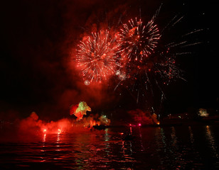Yearly Great Dragons Parade connected with the fireworks display, taking place on the river Vistula at Wawel. Cracow , Poland