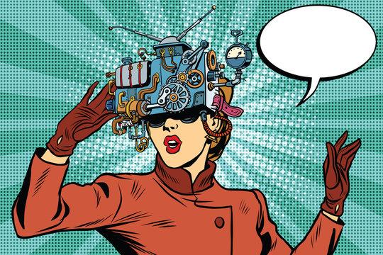 Virtual reality glasses retro girl science fiction
