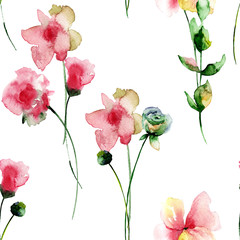 Seamless pattern with Stylized Summer flowers
