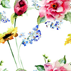 Seamless pattern with Decorative summer flowers