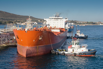 Chemical tanker during mooring operation in port.