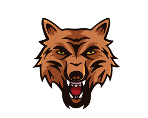 Leadership Animal Logo - Angry Wolf Character
