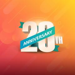 20th Anniversary 3D on orange background