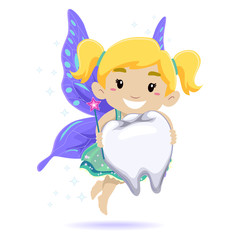Vector Illustration of Kid as a Tooth Fairy