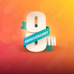 9th Anniversary 3D on orange background