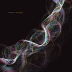 Abstract spectrum curved lines background. Rainbow smoke wave