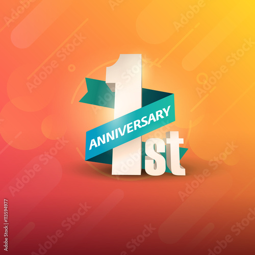 """One Year Business Anniversary Quotes: """"1st Anniversary 3D On Orange Background"""" Стоковое"""