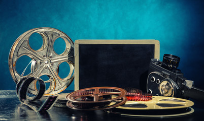 Retro film production accessories still life