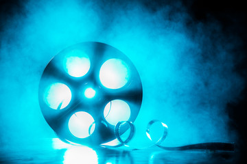 Reel of film with smoke and backlight