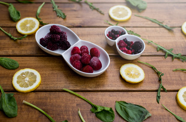 Bowl of frozen berries