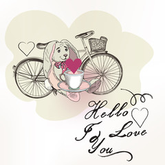 Vector romantic card with toy rabbit and bicycle in vintage rust