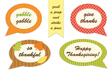 Cute set of Thanksgiving speech bubble photo booth props! Grab a prop and strike a pose!