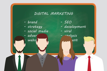 digital marketing team line up work on front of board with text vector graphic