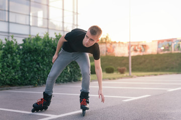 Rollerblader skating