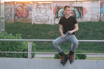 Rollerblader posing outdoor
